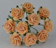 1.5cm LIGHT AUTUMN GOLD Mulberry Paper Roses